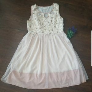 Anthropology a'reve Cream Lace Tulle Dress Medium